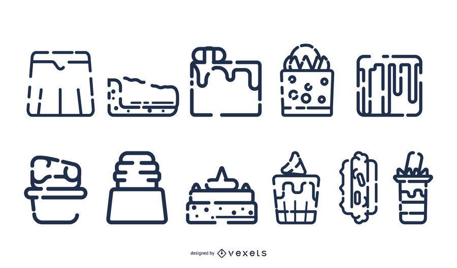 Strich Dessert Icon-Sammlung