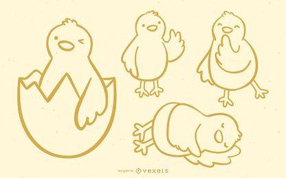 Doodle lindo conjunto de pollito