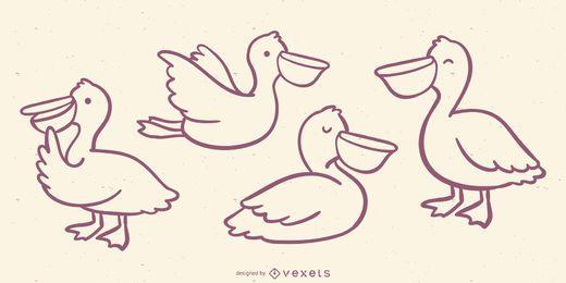 Cute Pelican Doodle Set