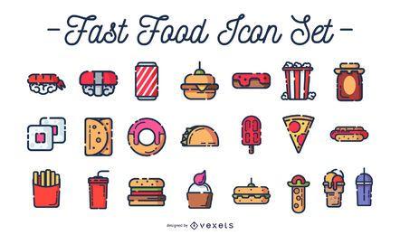 Conjunto de ícones coloridos de fast-food
