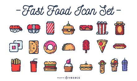 Fast-Food-farbige Icon-Set