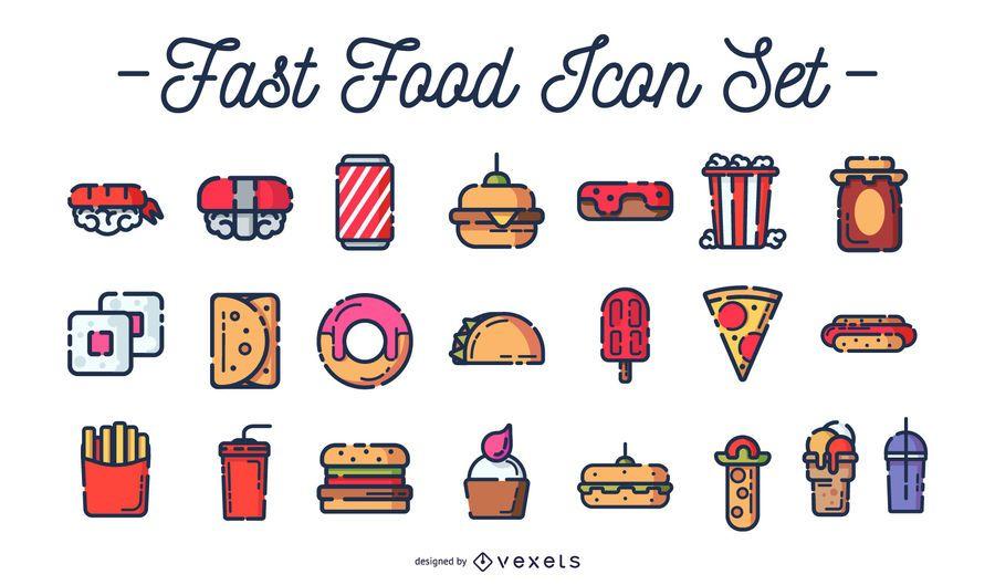 Conjunto de iconos de colores de comida rápida