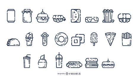 Colección de comida rápida en blanco y negro