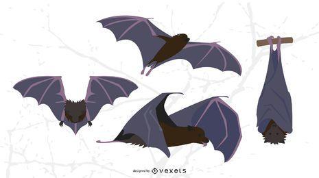 Conjunto de vetor plana de morcegos