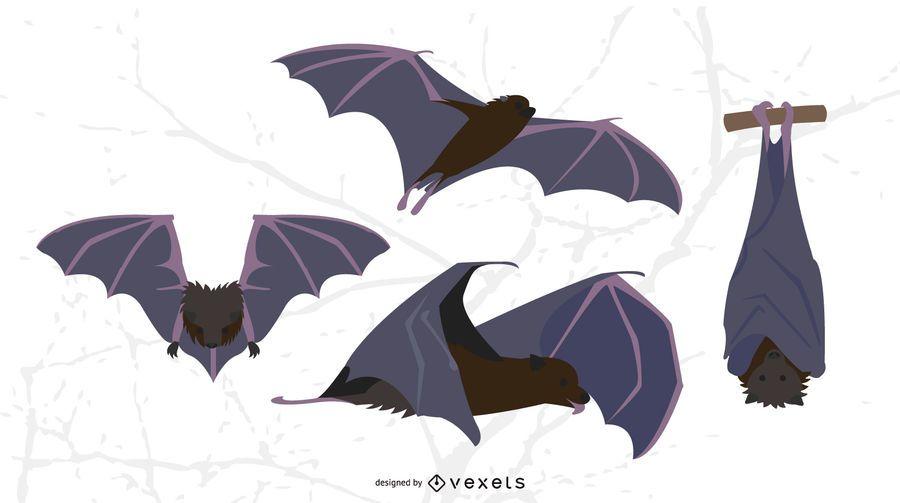 Murciélagos conjunto de vectores plana