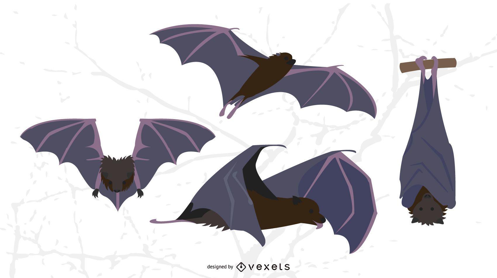 Conjunto de ilustración de murciélago