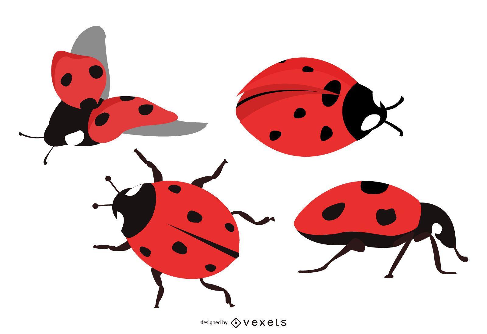 Cute Lady Bug Illustration Set