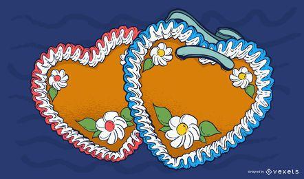 Ilustración de corazones de pan de jengibre lindo
