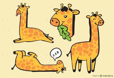 Ilustração da coleção de girafas fofas