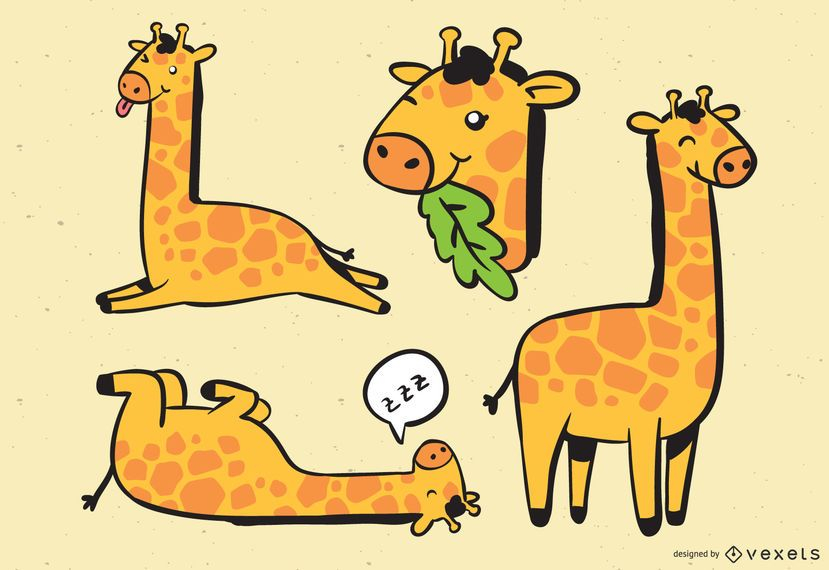 Cute Giraffe Collection Illustration