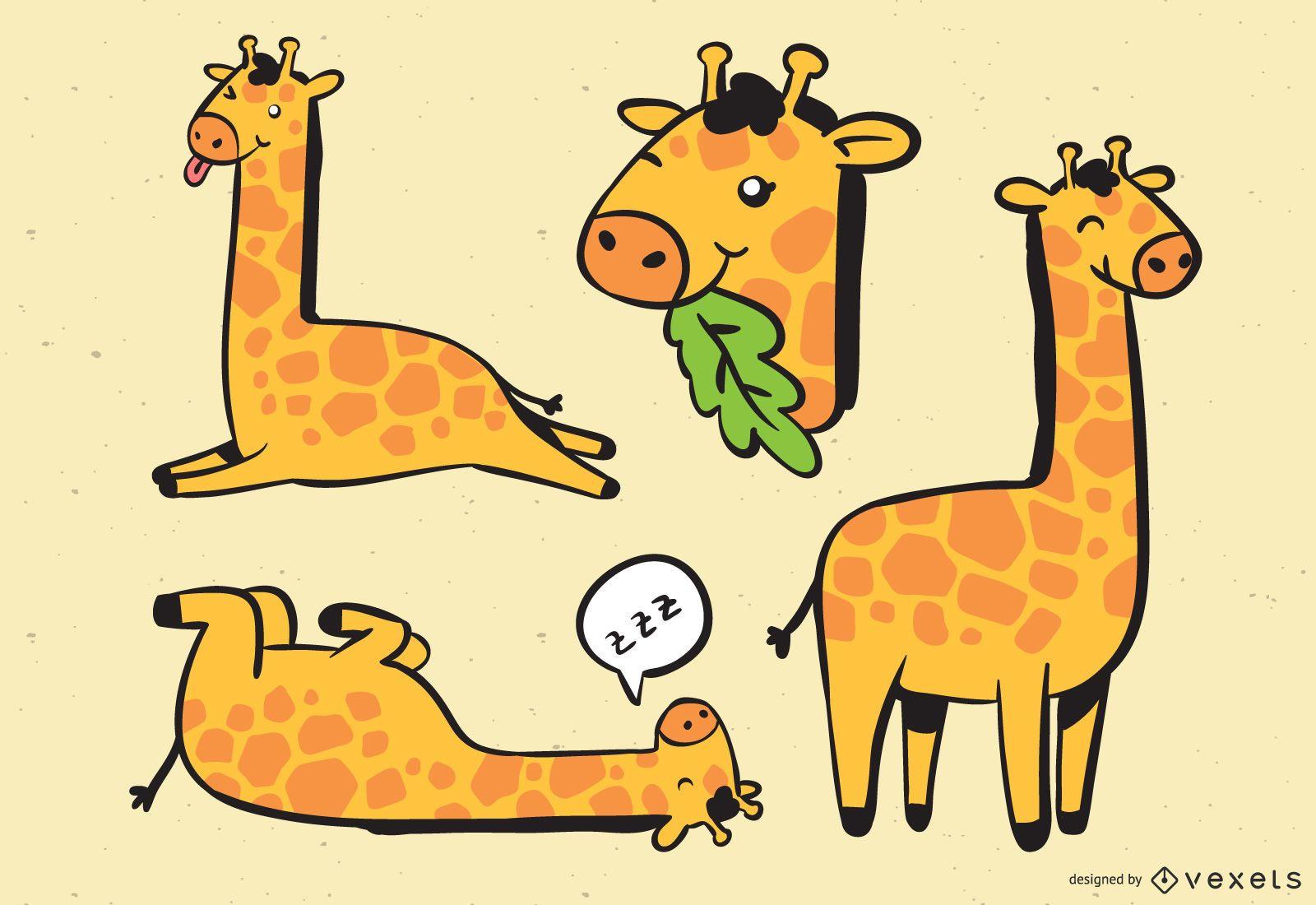 Ilustración linda de la colección de la jirafa