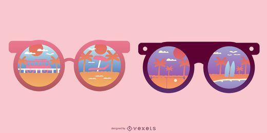 Gafas de sol redondas playa reflejo