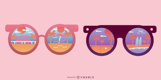 Reflexão de praia redonda de óculos de sol