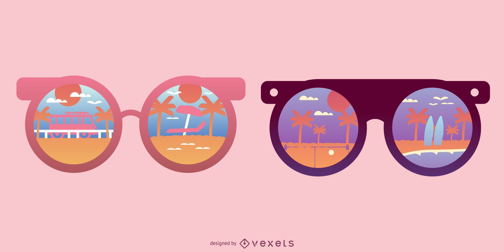 Round Sunglasses Beach Reflection