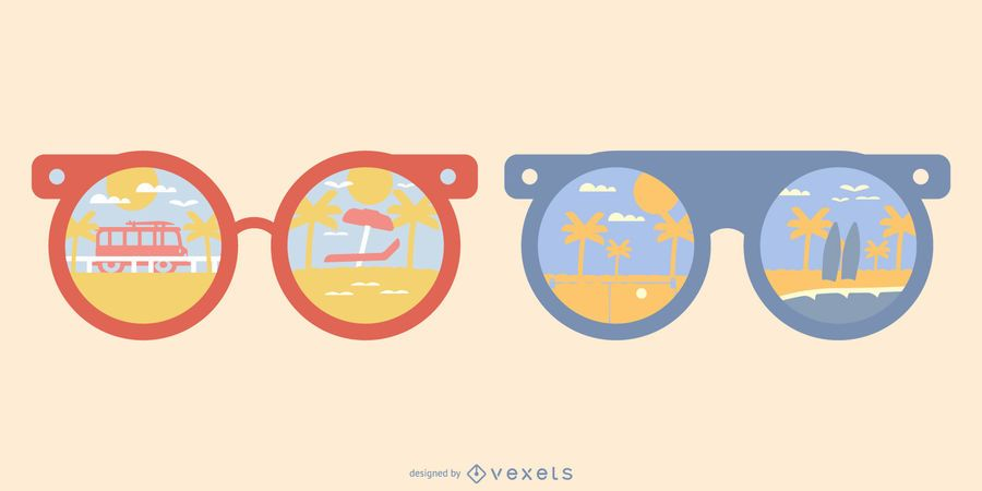 Exotic Beach Sunglasses Reflection Illustration