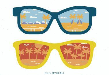 Reflexión de gafas de sol de la ilustración de la playa