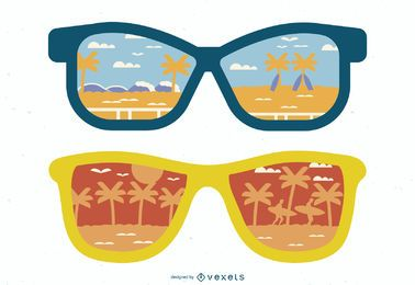 Sonnenbrille Refection der Strandillustration