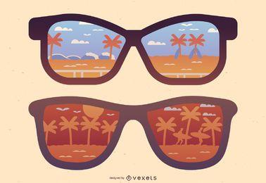 Playa reflejo gafas de sol ilustración
