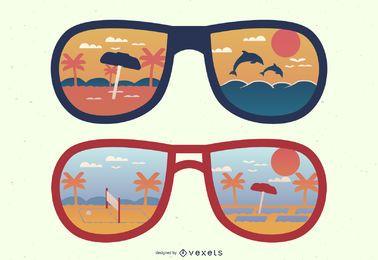 Reflexiones de gafas de sol al mediodía y al atardecer