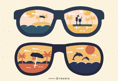 Reflexiones de gafas de sol de silueta de verano