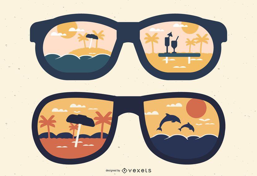 Reflexões de óculos de sol de silhueta de verão