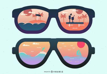 Praia e ilha óculos de sol reflexão