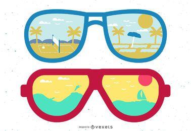 Sunglasses Sunny Beach Reflection