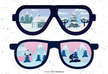 Reflejo de gafas de sol cubiertas de nieve