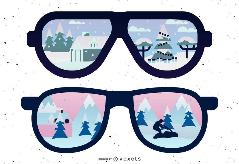 Reflexo de óculos de sol coberto de neve