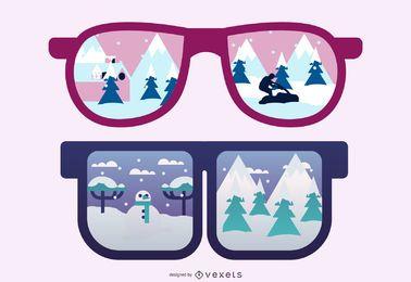 Óculos de sol refletindo neve