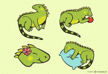 Coleção de iguanas coloridas