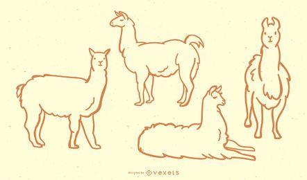 Coleção bonito do Doodle do lhama