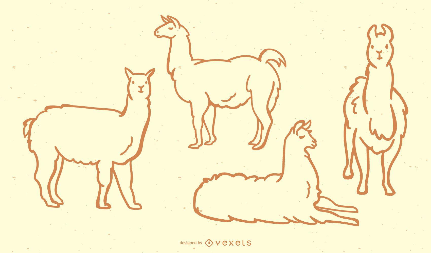 Cute Llama Doodle collection