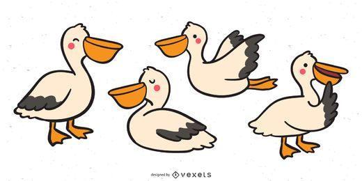 Cute pelican vector set