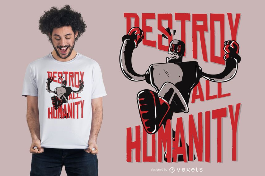 Robot destroy humanity t-shirt design