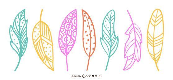 Bonito, folhas, desenho, ilustração