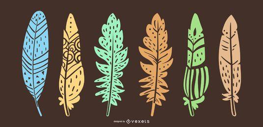 Ilustração de design de penas vibrantes