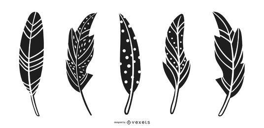 Ilustração do design da silhueta de penas