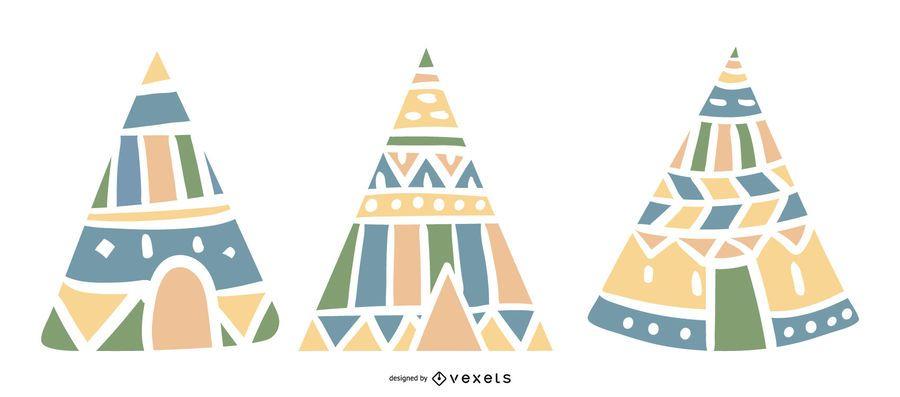 Ilustración de colección pastel tipi