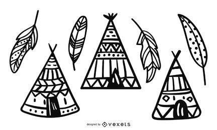 Ilustración de diseño de tipi y pluma