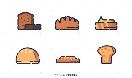 Iconos digitales de panadería
