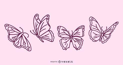 Coleção de Doodle de borboleta