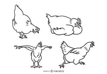 Ilustração de coleção de Doodle de frango