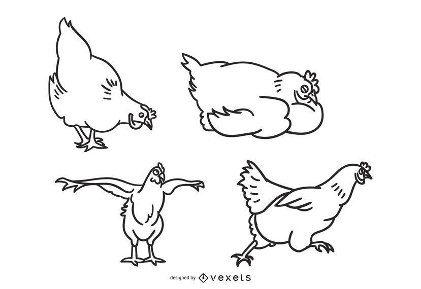 Huhn-Gekritzel-Sammlungs-Illustration