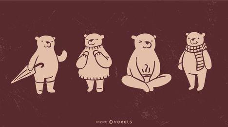 Colección linda de la silueta del oso