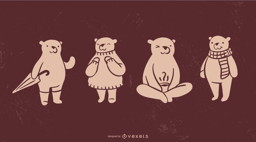 Coleção de silhueta de urso fofo