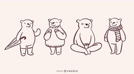 Coleção simples de Doodle de urso
