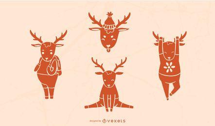 Cute Deer Silhouette Set