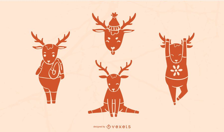 Cute Deer Silhouette Set