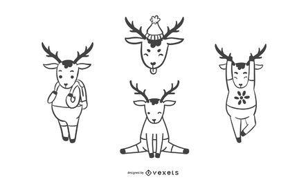 Ilustración de colección de ciervos simple